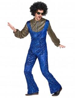Disco-Herrenkostüm mit Sternenhimmel blau-gold
