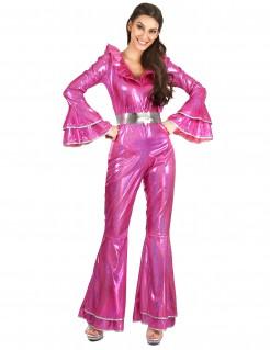 Glänzendes Disco-Damenkostüm pink