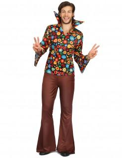 Blumiges Hippie-Kostüm für Herren bunt