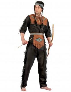 Indianer-Herrenkostüm Western schwarz-braun