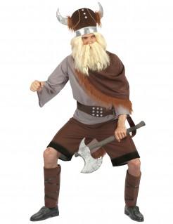 Wikingerkrieger-Kostüm mit gehörntem Helm braun-grau