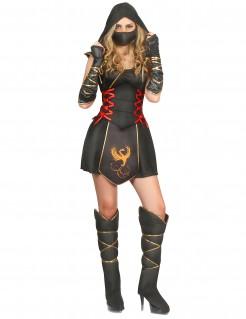 Geheimnisvolles Ninja-Damenkostüm mit Phönix-Motiv schwarz
