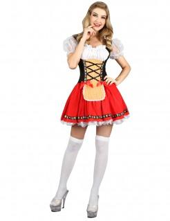 Bayerisches Damenkostüm Dirndl rot-weiss-schwarz