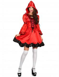 Märchenhaftes Rotkäppchen-Damenkostüm rot-schwarz