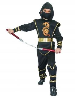 Tapferer Ninjakrieger Ninja-Kinderkostüm mit Drachenmotiv schwarz-gold