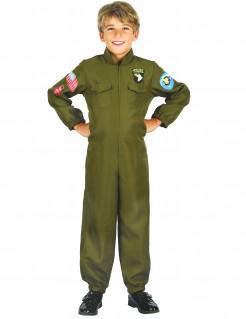 Jet-Piloten Kampfpiloten-Kostüm für Kinder grün