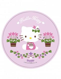 Niedlicher Hello Kitty™-Tortenaufleger Lizenzartikel Blumen rosa-bunt 21cm