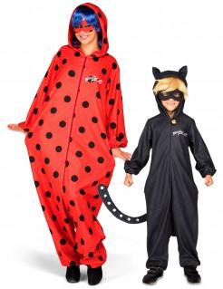Miraculous™ Paarkostüm Ladybug™ Cat Noir™ für Mütter und Söhne schwarz-rot