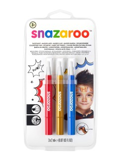 Snazaroo™-Schminkstifte 3 Stück rot-gold-blau 6ml