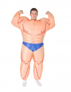 Aufblasbares Bodybuilder-Kostüm hautfarben-blau