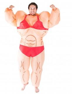 Aufblasbares Bodybuilderin-Kostüm hautfarben-rot