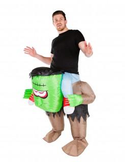 Aufblasbares Monster Carry-Me-Kostüm für Halloween grün-braun