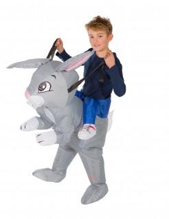 Aufblasbares Kaninchen Carry-Me-Kinderkostüm grau