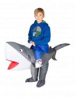 Aufblasbarer Haifisch Carry-Me-Kinderkostüm grau