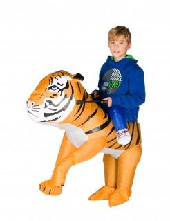 Aufblasbarer Tiger Carry-Me-Kinderkostüm orange-weiss-schwarz