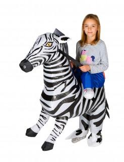 Aufblasbares Zebra Carry-Me-Kinderkostüm weiss-schwarz