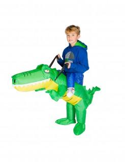 Aufblasbares Krokodil Carry-Me-Kinderkostüm grün-gelb
