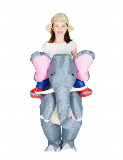 Aufblasbarer Elefant Carry-Me-Kinderkostüm grau