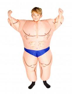 Aufblasbares Bodybuilder-Kinderkostüm hautfarben-blau