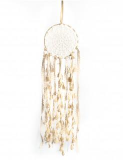 Traumfänger mit Spitze und Pompons beige 15x50cm