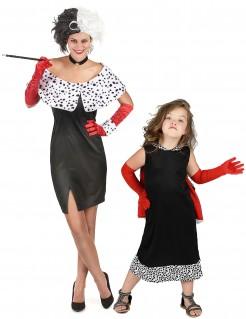 Dalmatiner-Frau-Paarkostüm für Mutter und Tochter Cruella-Kostüm schwarz-weiss-rot