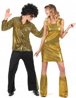 Glänzendes 70er-Jahre Paarkostüm mit Pailletten gold-schwarz