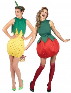 Fruchtiges Erdbeere und Ananas Paarkostüm für Damen rot-gelb-grün