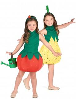 Früchte-Paarkostüm für Kinder Karneval rot-grün-gelb