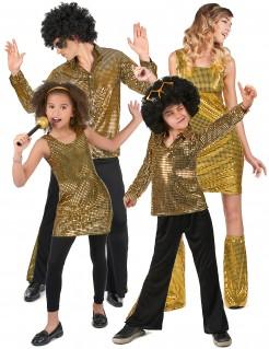 70er-Gruppenkostüm Discokostüm für 4 Personen gold-schwarz