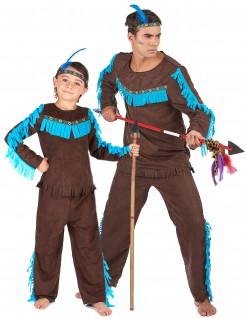 Indianer-Paarkostüm für Erwachsene und Kinder Karneval türkis-braun