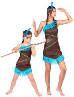 Indianerinnen-Paarkostüm Mutter und Tochter türkis-braun