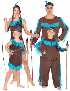 Indianer-Familienkostüm Karneval braun-türkis