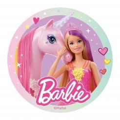 Barbie™-Tortenaufleger Lizenzartikel rosa-bunt 20cm