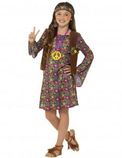 Hippiekleid für Mädchen Hippie-Kinderkostüm mit Blumen-Muster bunt