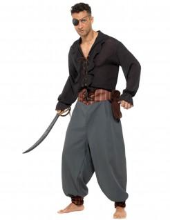 Piraten-Söldner-Kostüm für Erwachsene schwarz-grau