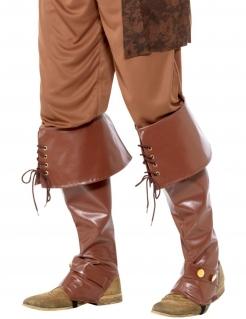 Stiefel-Stulpen Piraten-Kostümaccessoire braun