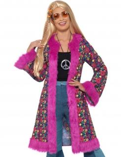 Hippie-Mantel für Damen Karneval pink