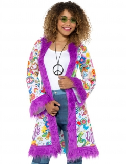 Hippie-Mantel 60er-Jahre-Damenmantel lila-bunt