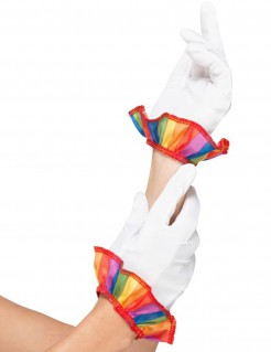 Clown-Handschuhe Kostümaccessoire weiss-bunt