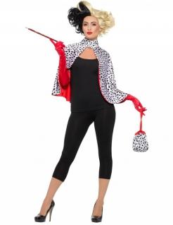 Dalmatinerfrau-Kostüm Böse Hundefängerin schwarz-weiss