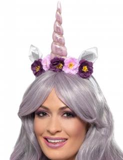 Einhorn-Haarreif mit Blumen violett-rosa