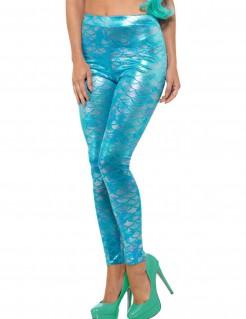 Meerjungfrauen-Leggins Kostüm-Accessoire für Damen türkis
