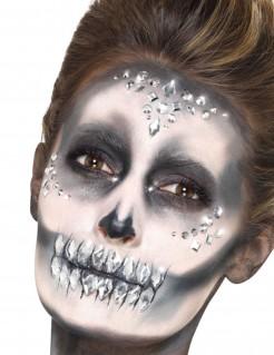 Glitzer-Schmucksteine für das Gesicht 100 Stück Make-up silber