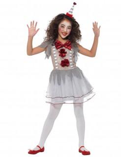 Vintage-Clownkostüm für Mädchen weiss-grau-rot