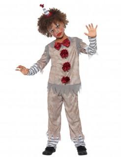 Vintage-Clown-Kostüm für Jungen grau-weiss-rot