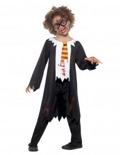 Zombie-Zauberlehrling Kostüm für Kinder Halloween schwarz-weisss