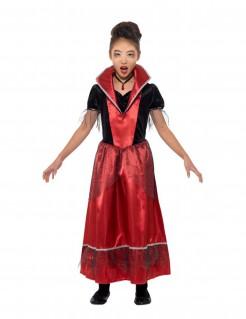 Vampir-Kostüm für Mädchen Halloween rot-schwarz