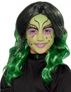 Zweifarbige Hexenperücke für Kinder schwarz-grün