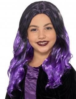 Perücke für Kinder Accessoire violett-schwarz