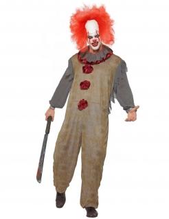 Vintage-Clown-Kostüm für Herren grau-rot